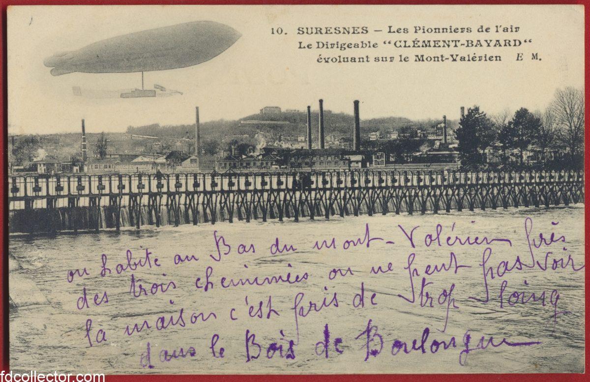 cpa-suresnes-pionniers-air-dirigeable-clement-bayard-evoluant-mont-valerien