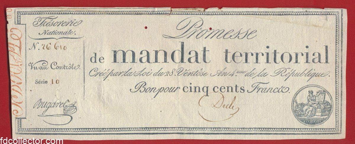 promesse-mandat-territorial-cinq-cents-francs-serie-10-n-26610