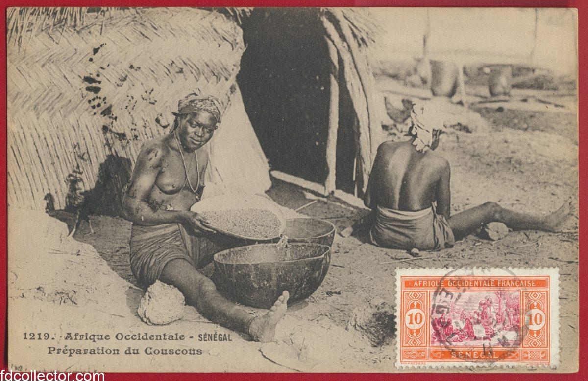 cpa-afrique-occidentale-senegal-preparation-couscous