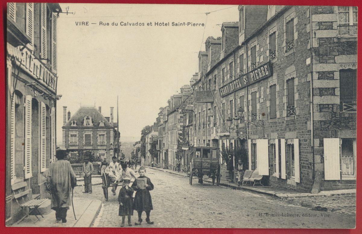 cpa-vire-rue-du-calvados-hotel-saint-pierre