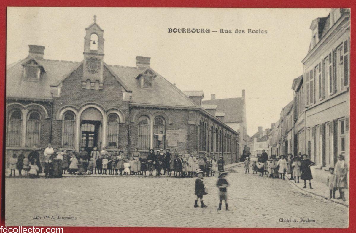 cpa bourbourg rue ecoles