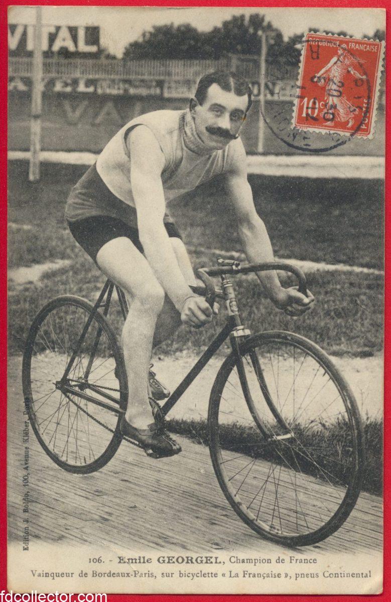 CPA Emile-Georgel-champion-france-vainqueur-bordeaux-paris-bicyclette-française-pneus-continental