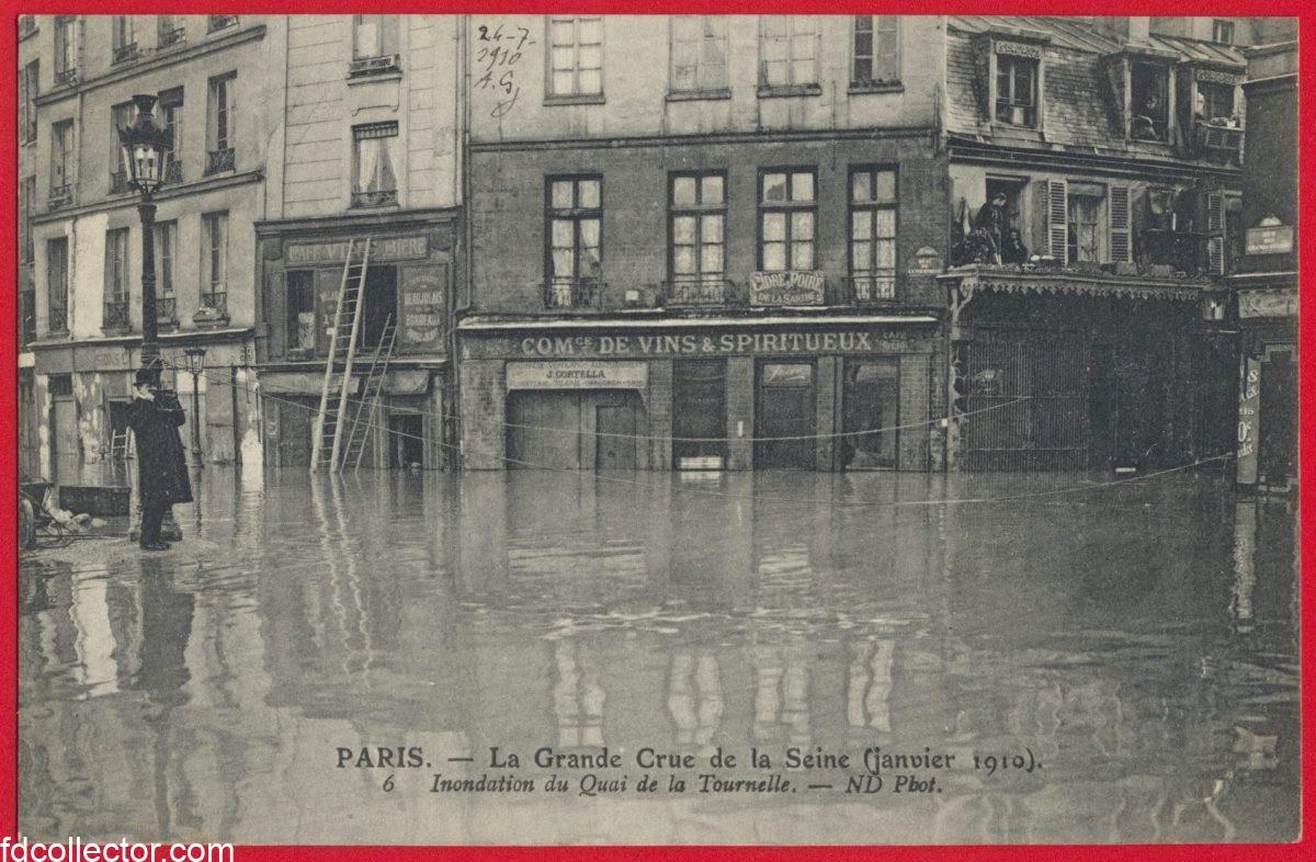 cpa-grande-crue-seine-paris-janvier-1910-inondation-quai-tournelle