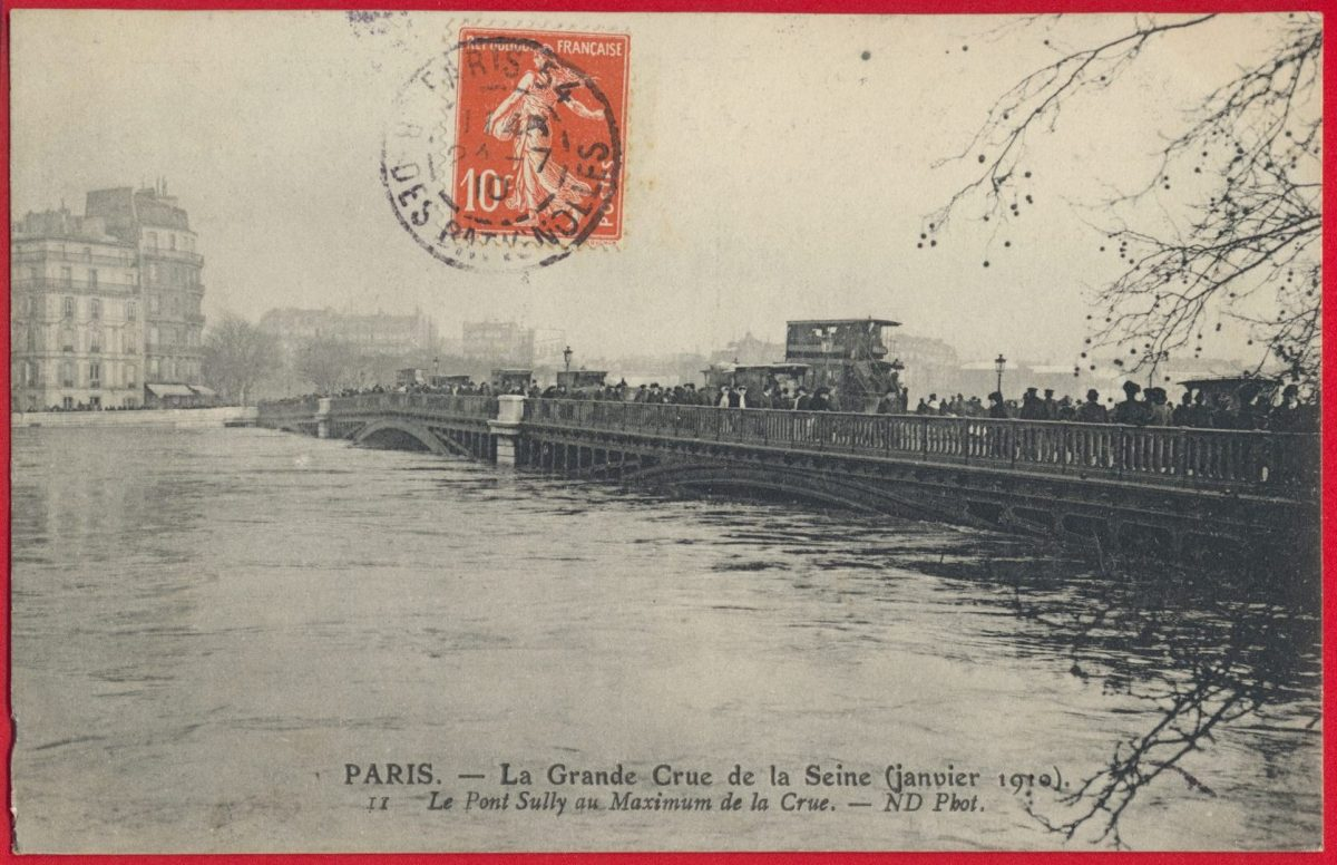 cpa-grande-crue-seine-paris-janvier-1910-pont-sully-maximum-crue