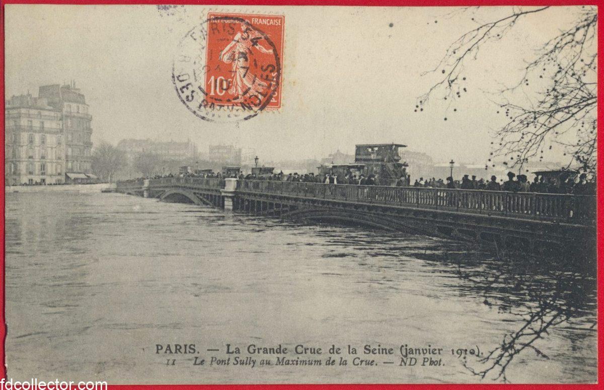 cpa-grande-crue-seine-paris-janvier-1910-pont-sully-maximum-crue