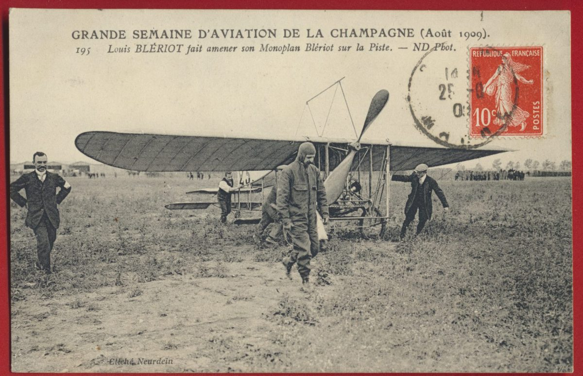 cpa-grande-semaine-aviation-champagne-aout-1909-louis-bleriot-monoplan-piste