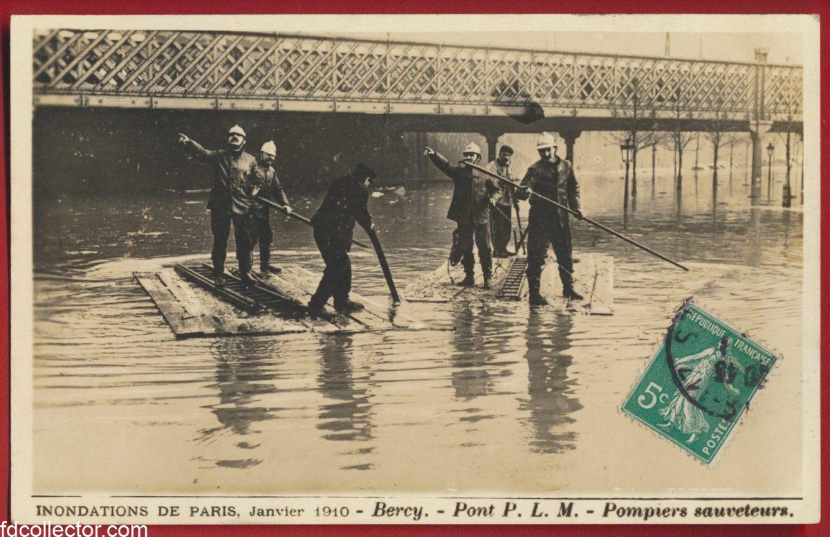 cpa-inondations-paris-janvier-1910-bercy-pont-plm-pompiers-sauveteurs