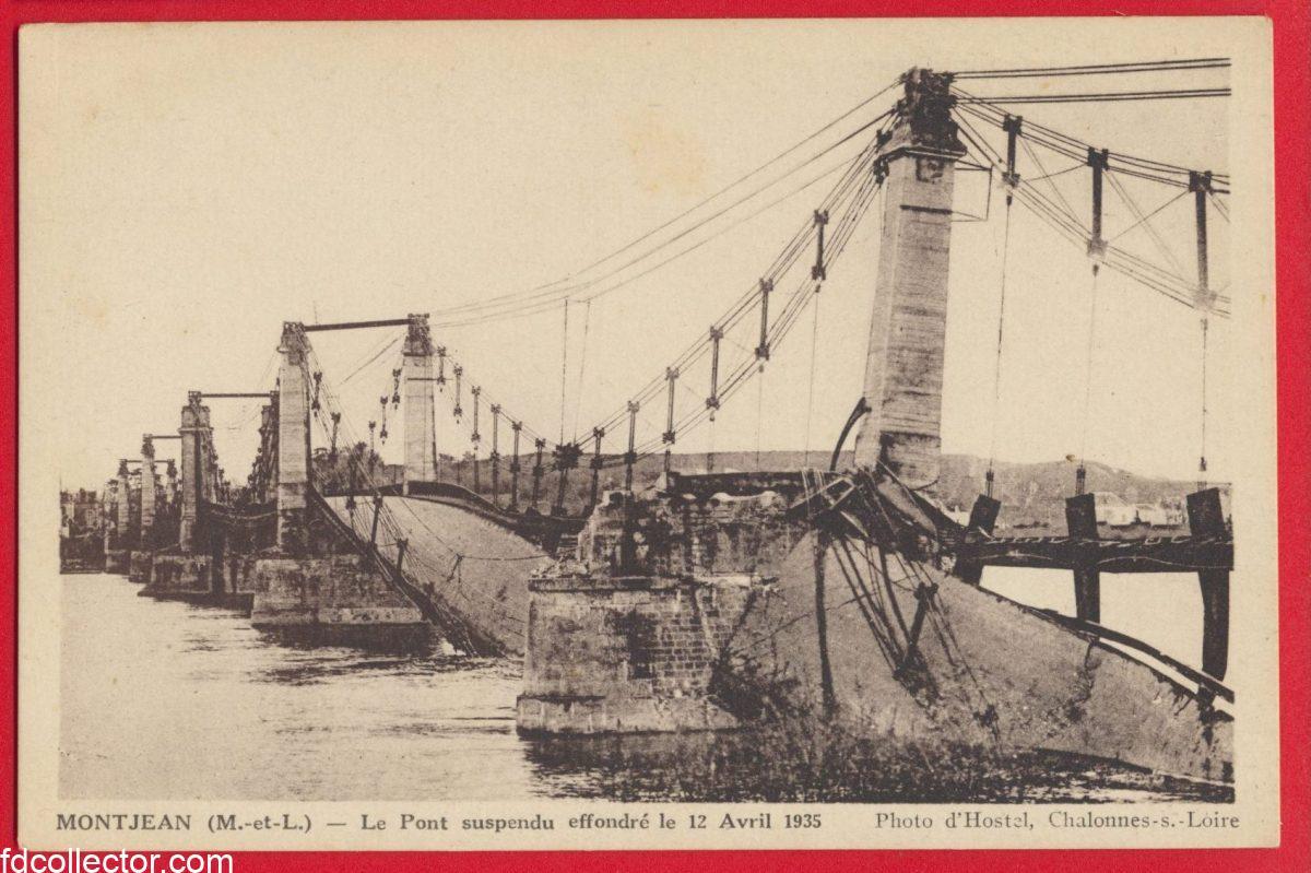 cpa-montjean-pont-suspendu-effondre-1935-photo-hostel-chalonnes-loire