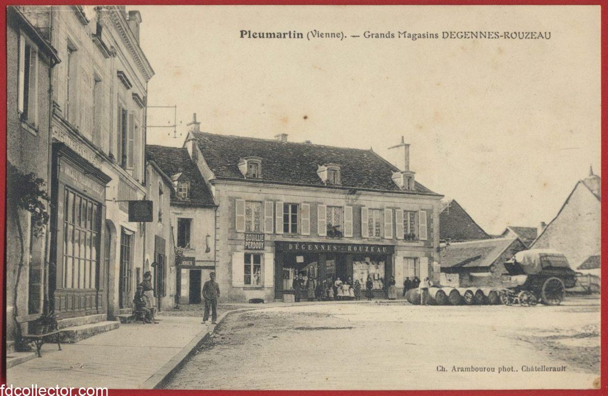 cpa-pleumartin-vienne-grands-magasins-degennes-rouzeau