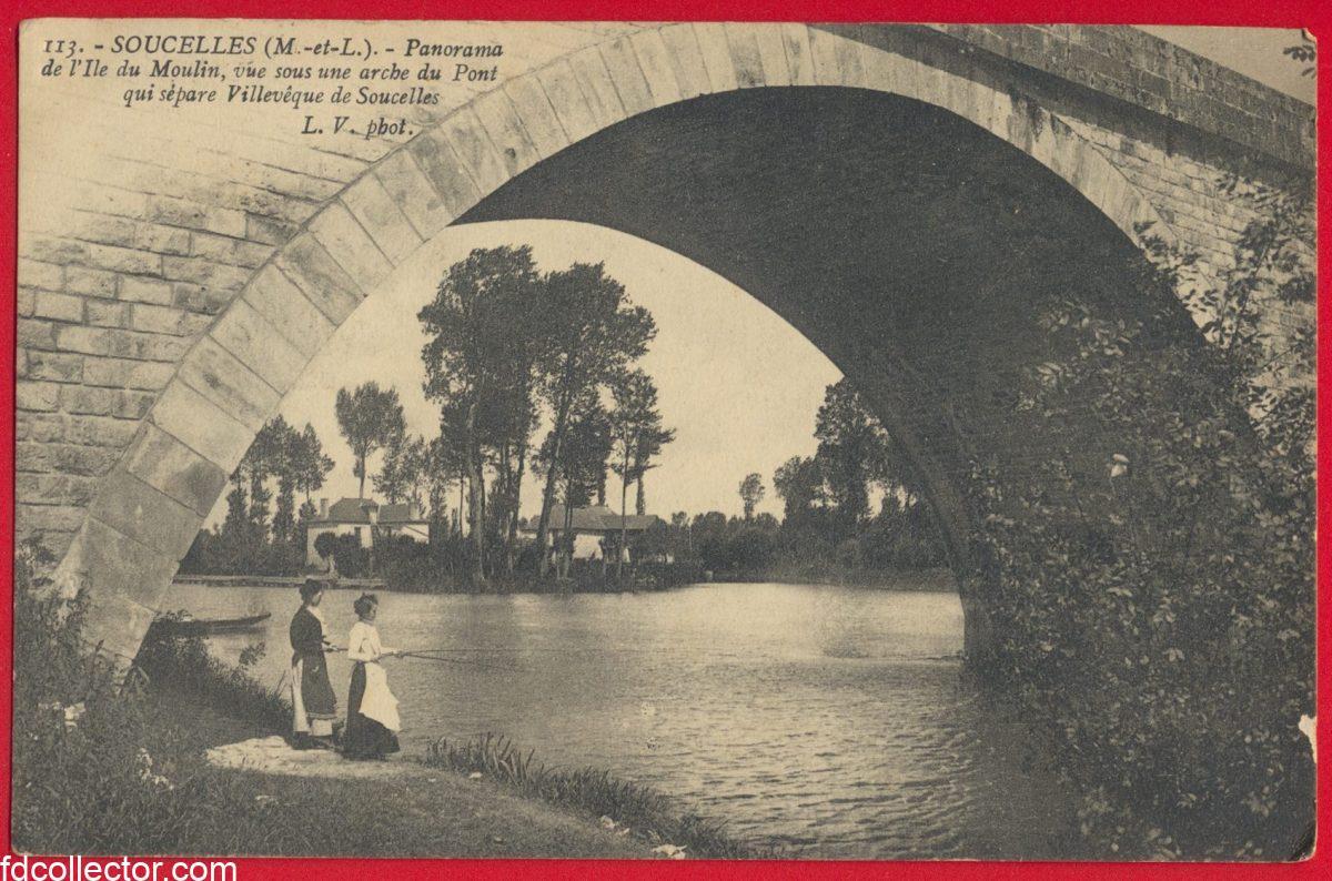 cpa-soucelles-panorama-ile-moulin-arche-pont-villeveque