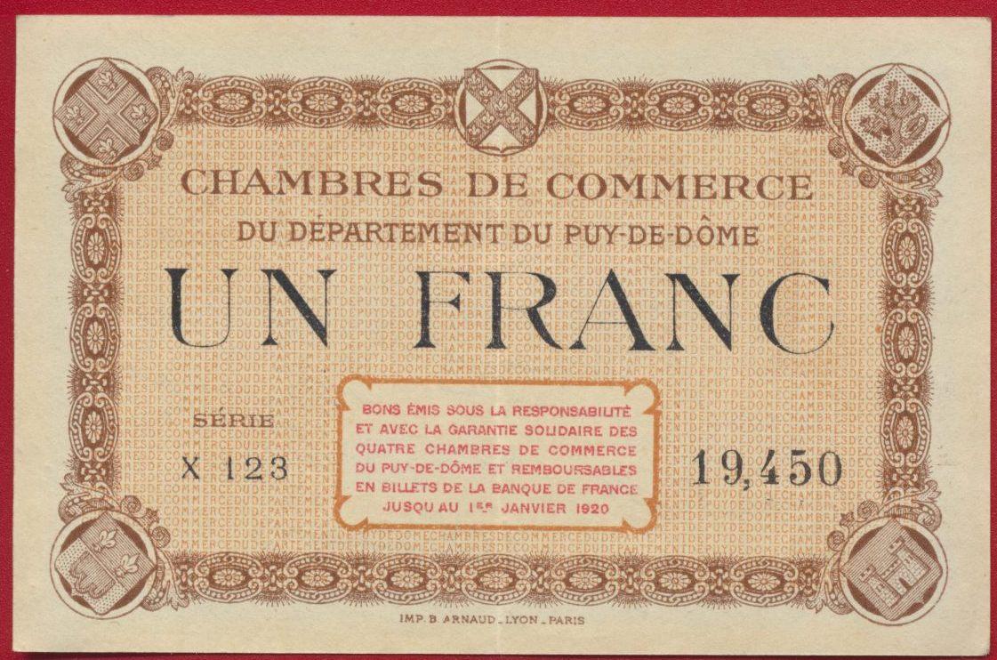 un franc chambre de commerce puy de dome x123 19450