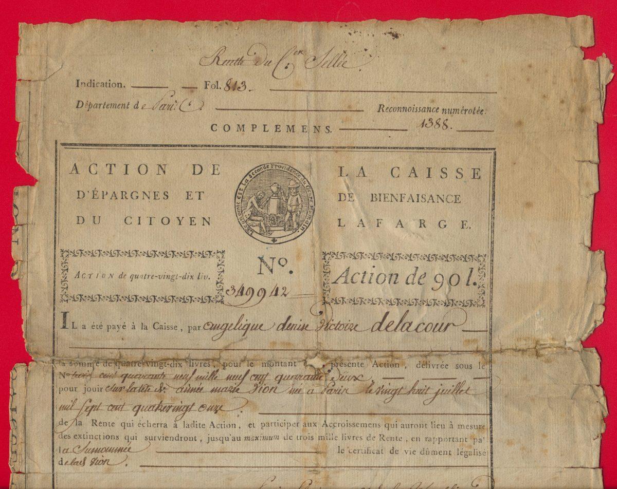 1-action-bienfaisance-90-livres-caisse-epargnes-citoyen-revolution-pluviose-an3-republique-janvier-1795-dos