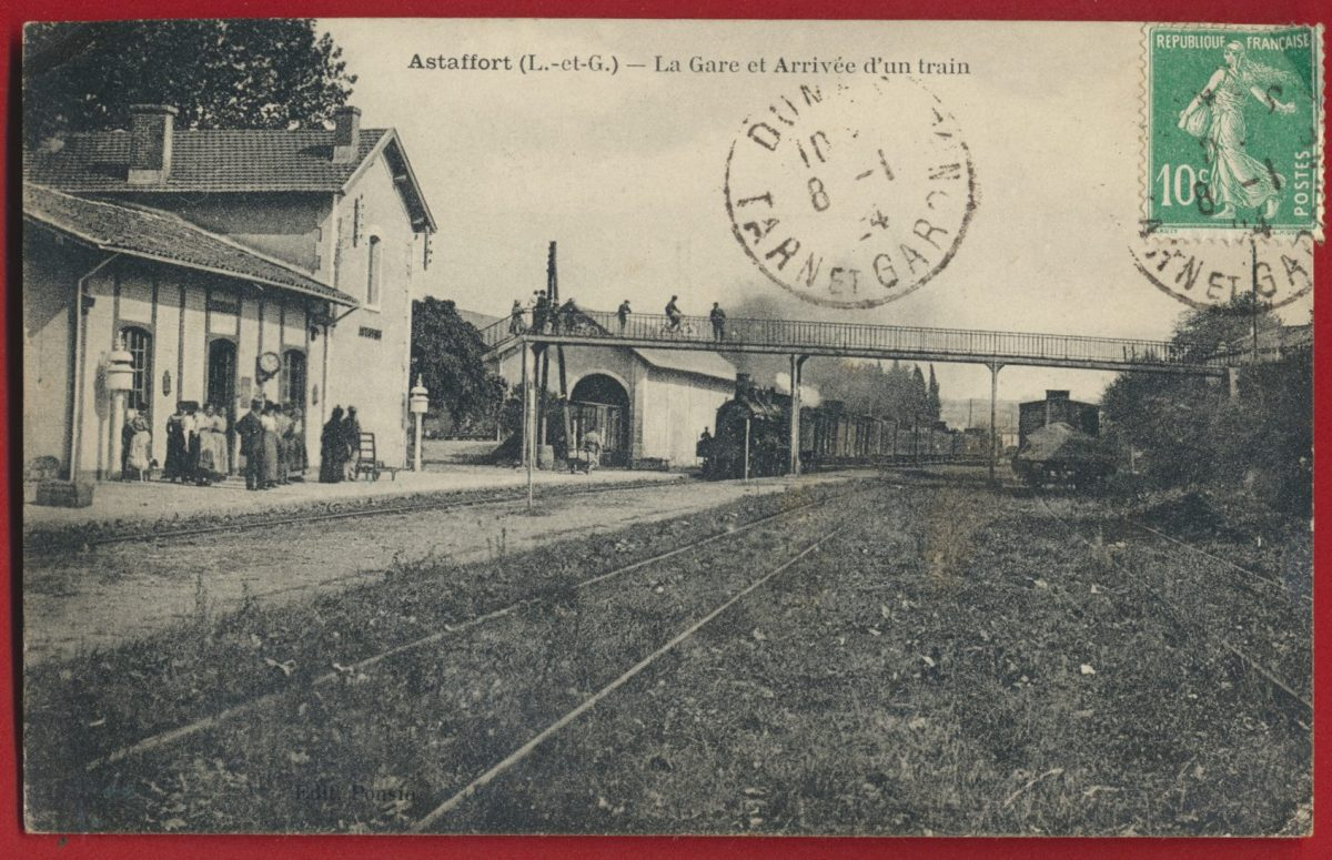 cpa-astaffort-gare-arrivee-train-lot-garonne