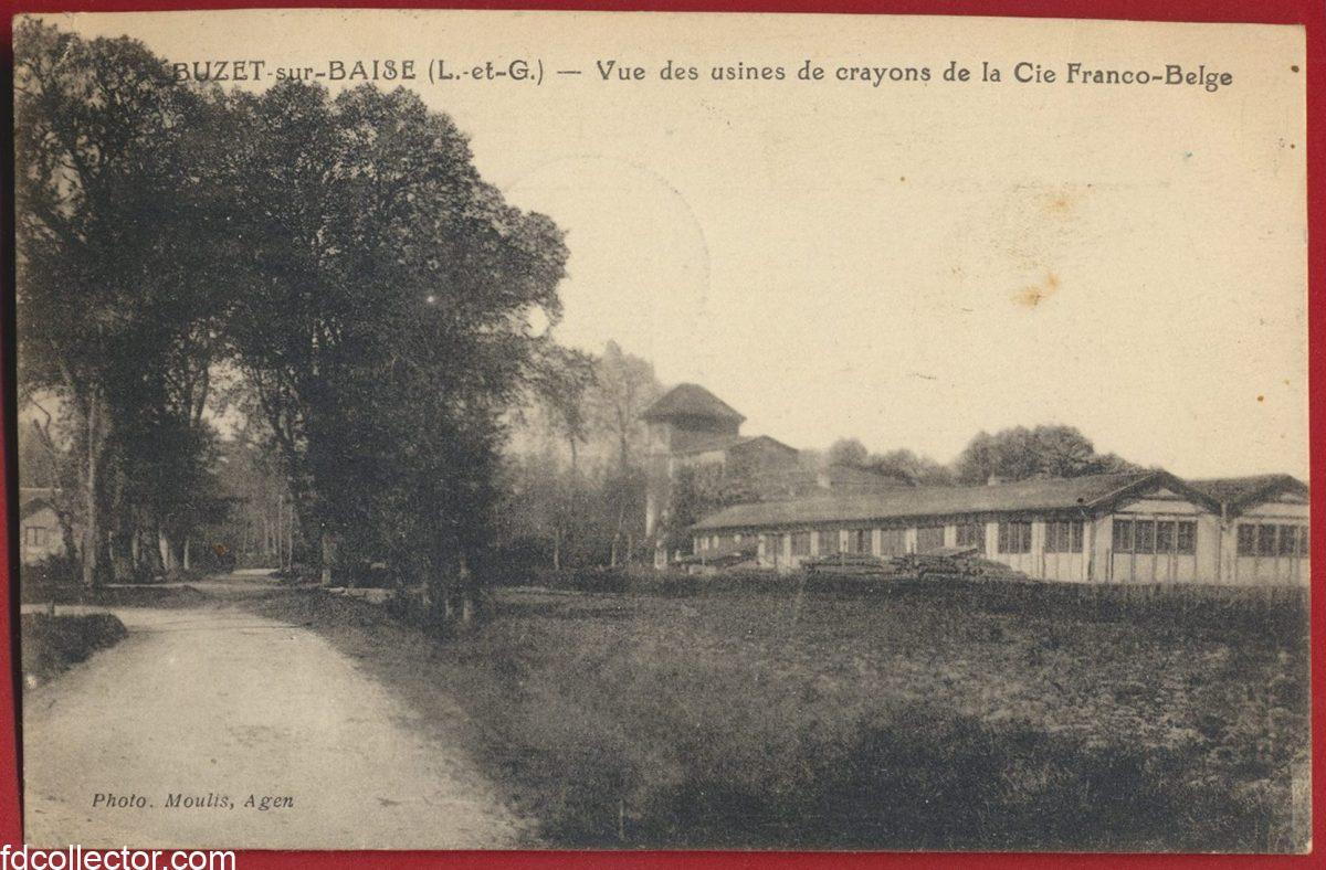 cpa-buzet-sur-baise-vue-usines-crayons-compagnie-franco-belge