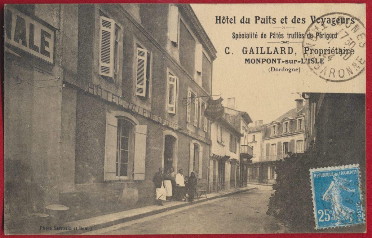 cpa-hotel-puits-voyageurs-gaillard-truffe-perigord-montpont-sur-isle-dordogne