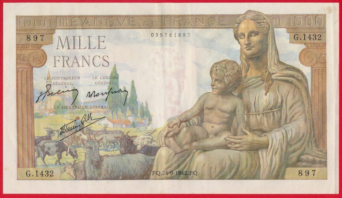 1000-francs-demeter-deesse-24-9-1942