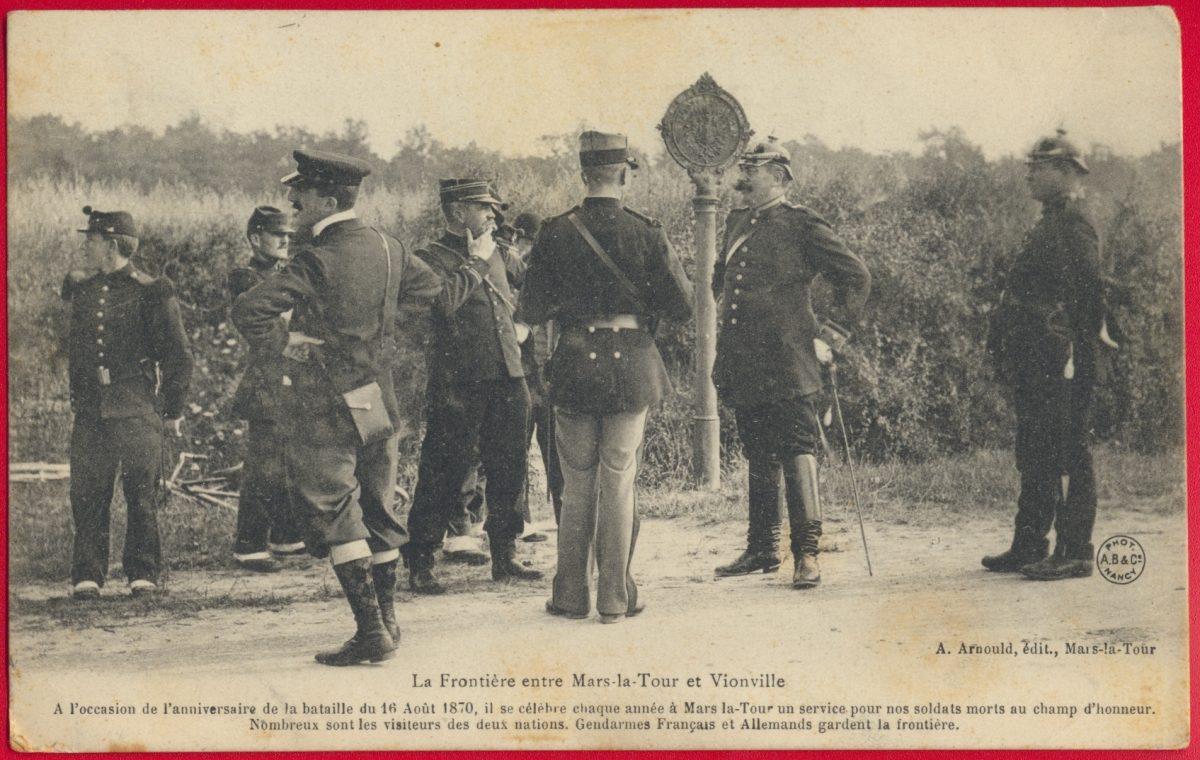 cpa-frontiere-mars-la-tour-vionville-anniversaire-bataille-1870-gendarmes