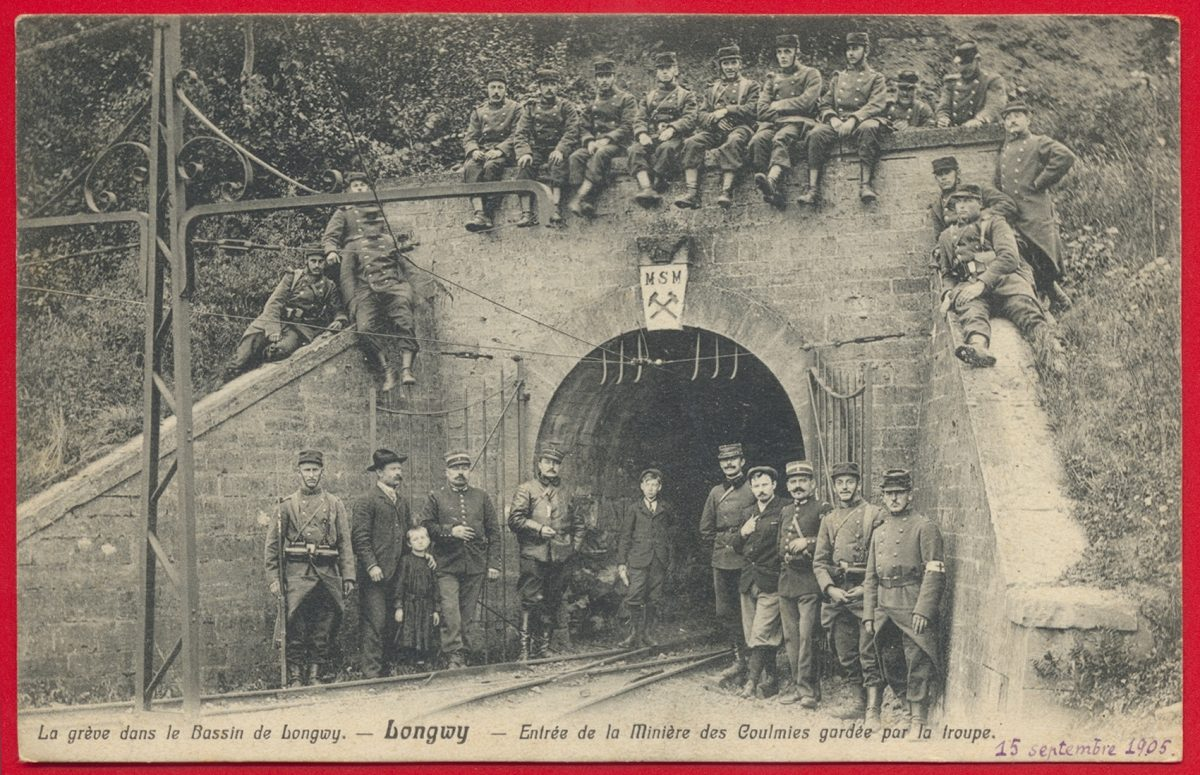 cpa-greve-bassin-longwy-entree-miniere-coulmies-garde-troupe-1905