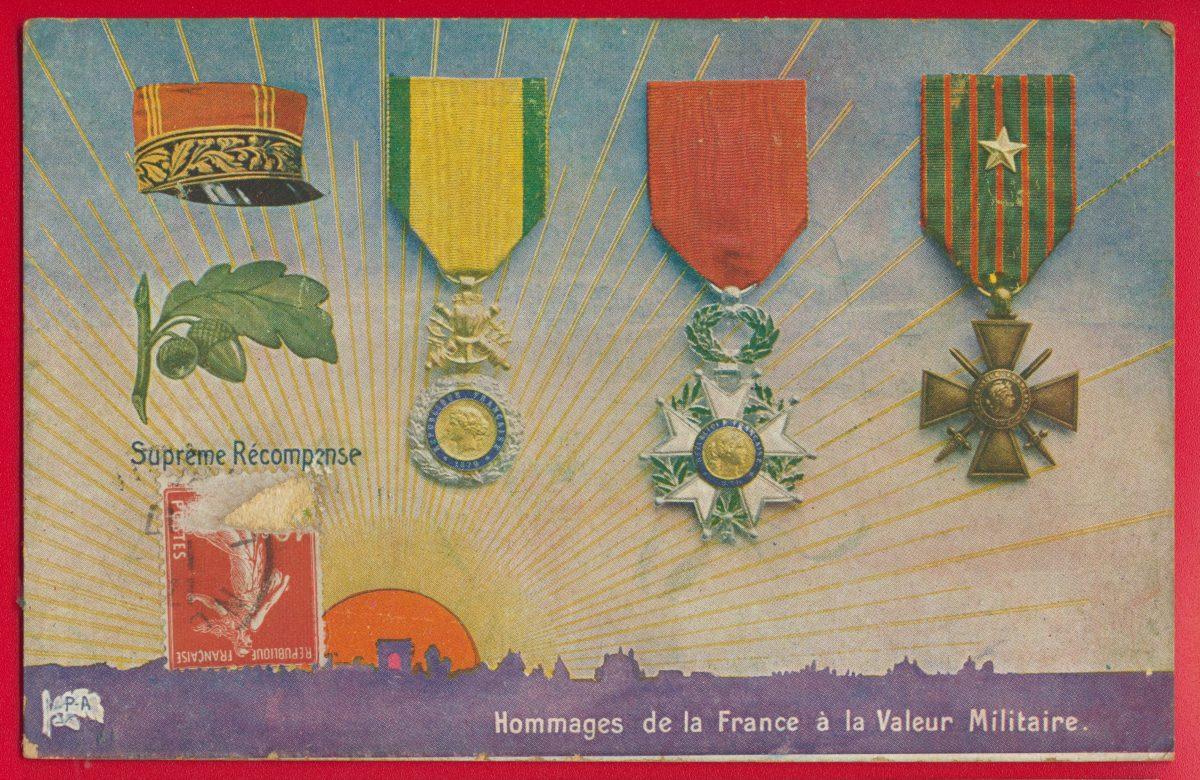 cpa-hommage-france-valeur-militaire-supreme-recompense-decoration-legion-croix-guerre