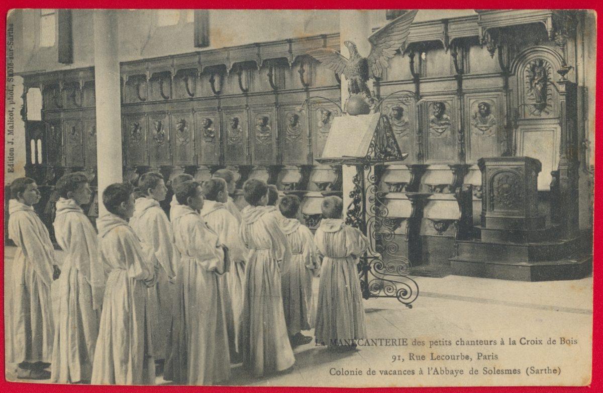 cpa-mantcanterie-petits-chanteurs-croix-bois-lecourbe-paris-colonie-vacances-abbaye-solesmes-sarthe