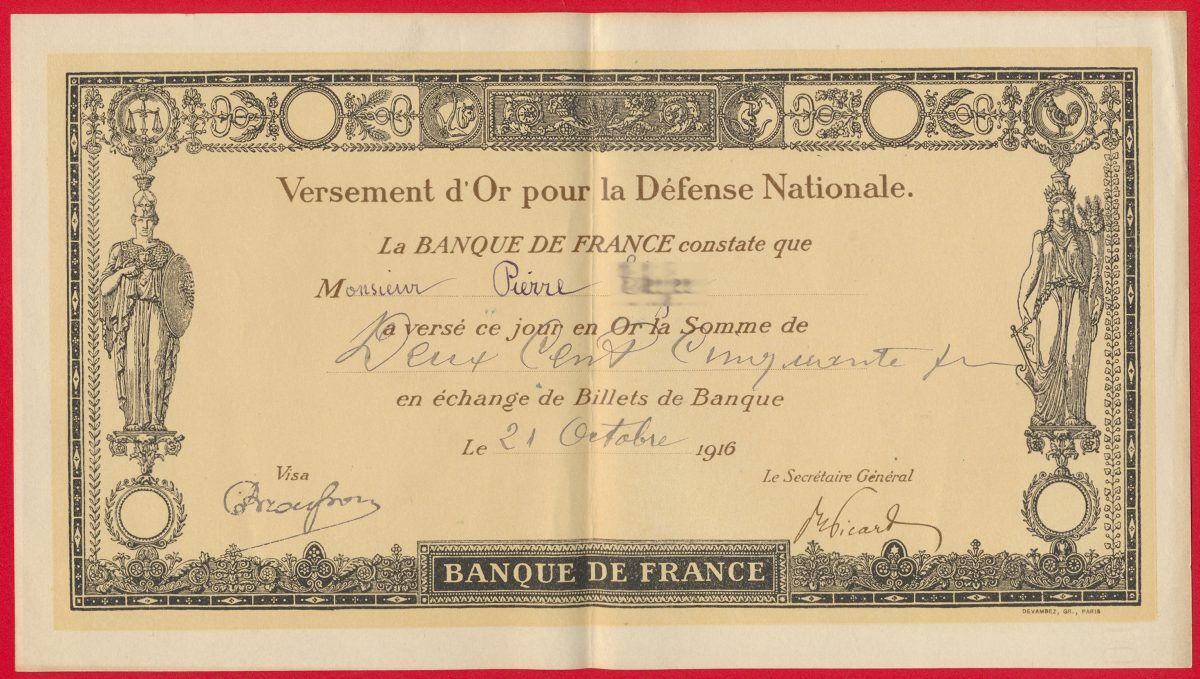 versement-or-banque-france-defense-nationale-or-guerre-1914-1918
