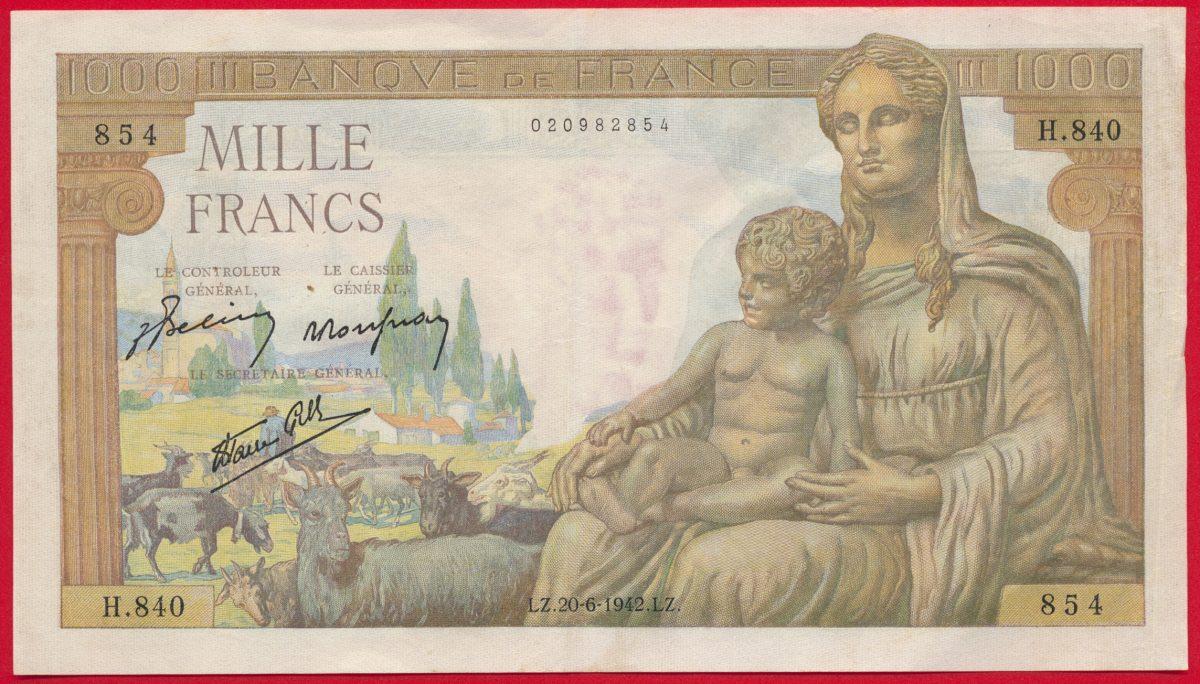1000-francs-demeter-deesse-24-6-1942