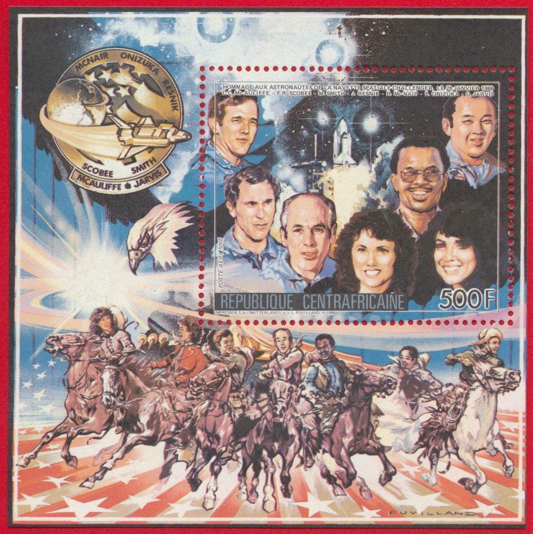 bloc-republique-centrafricaine-500-francs-hommage-navette-astronautes-challenger-1986-poste-aerienne