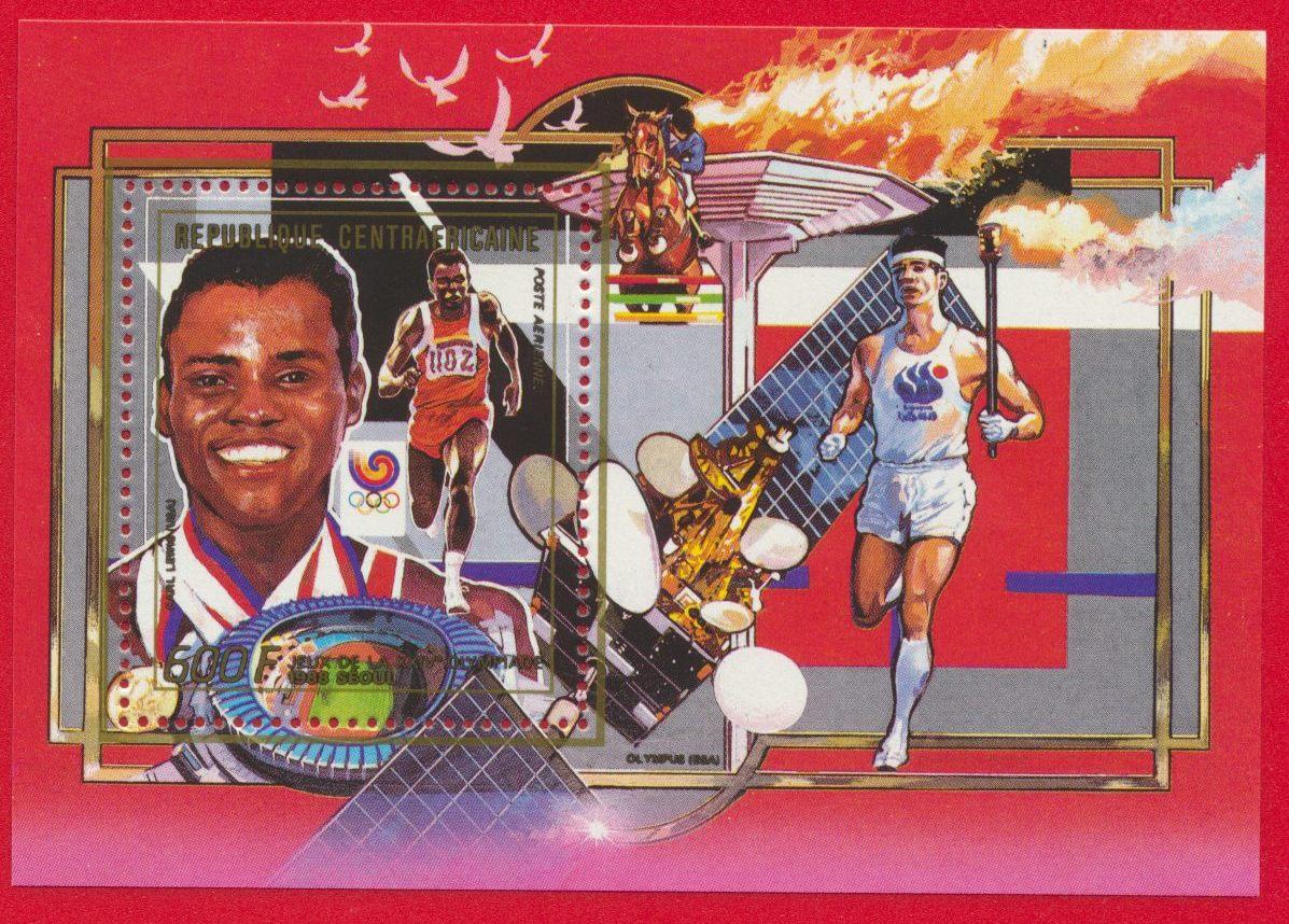 bloc-republique-centrafricaine-600-francs-carl-lewis-jeux-olympiques-seoul-flamme-pose-aerienne