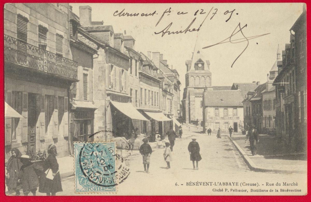 cpa-benevent-abbaye-rue-marche-distillerie-benventine-pelissier