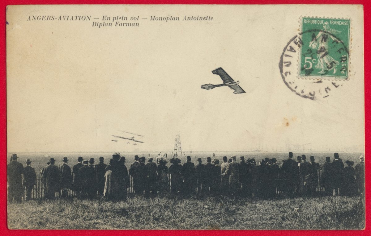 cpa-angers-aviation-en-plein-vol-monomplan-antoinette-biplan-farman