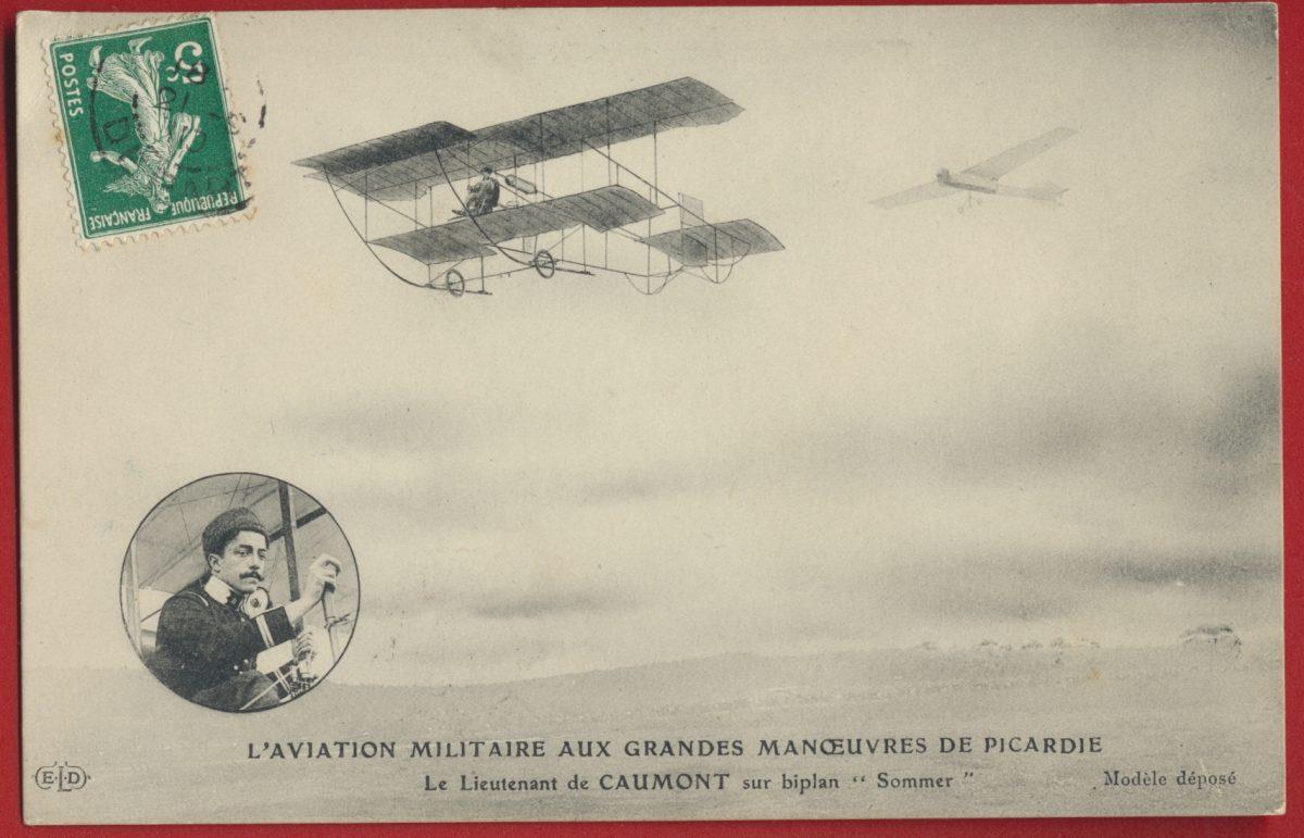 cpa-aviation-militaire-lieutenant-caumont-manoeuvre-picardie-biplan-sommer