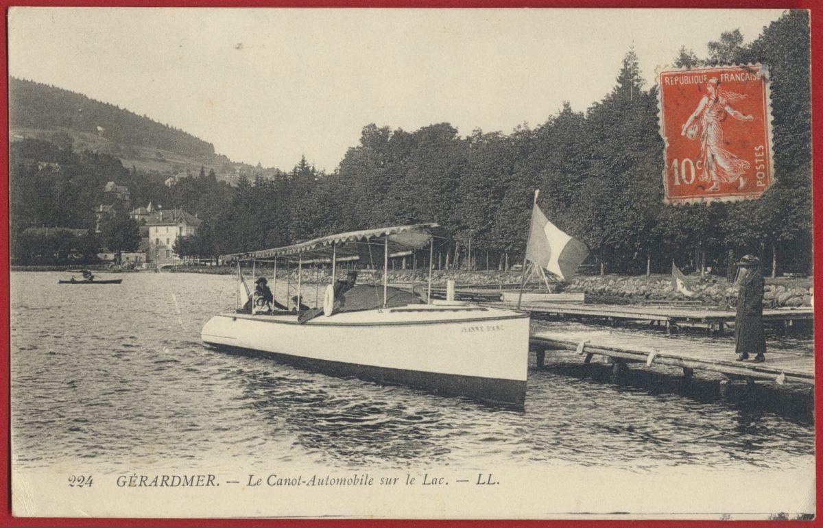 cpa-gerardmer-jeanne-darc-canot-automobile-sur-lac