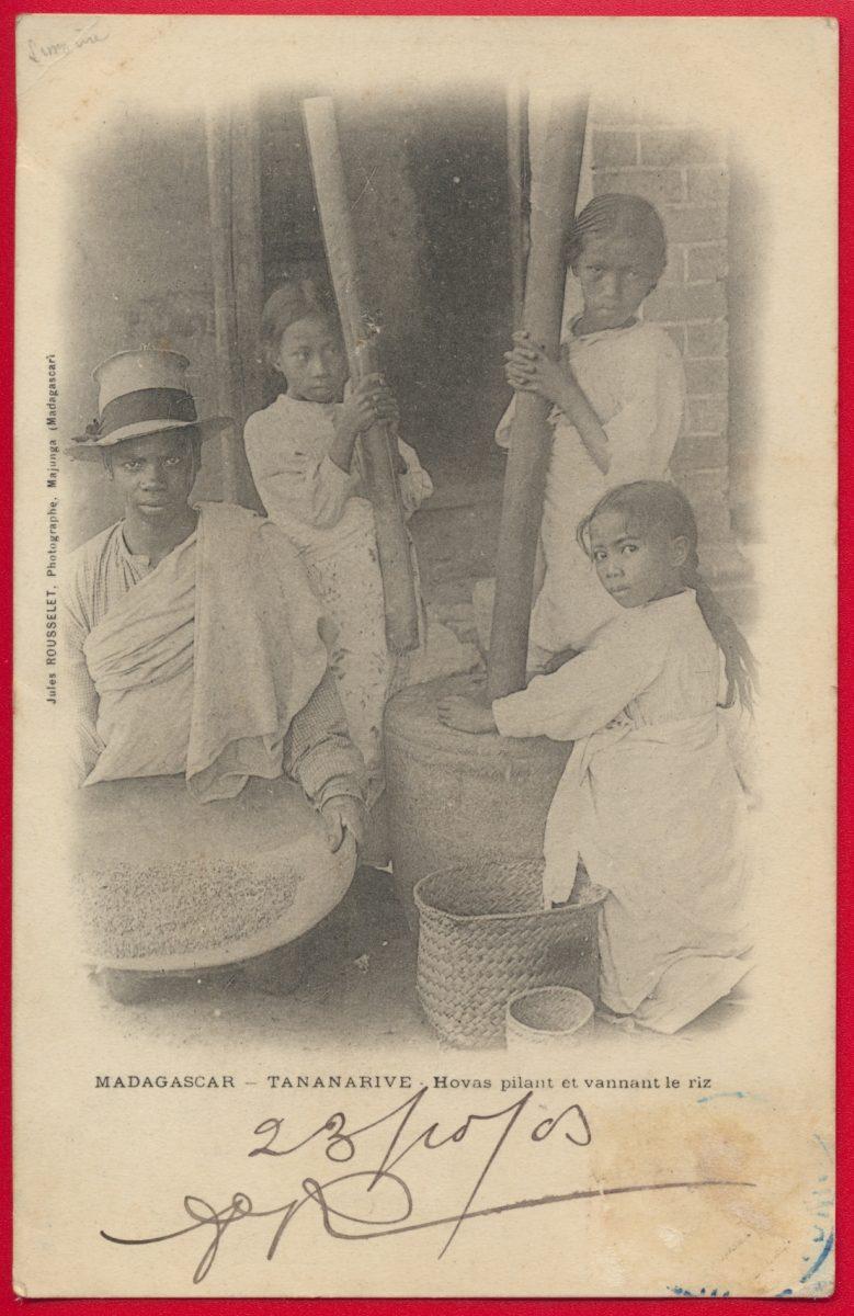 cpa-madagascar-tananarive-antananarivo-hovas-pilant-vannant-riz