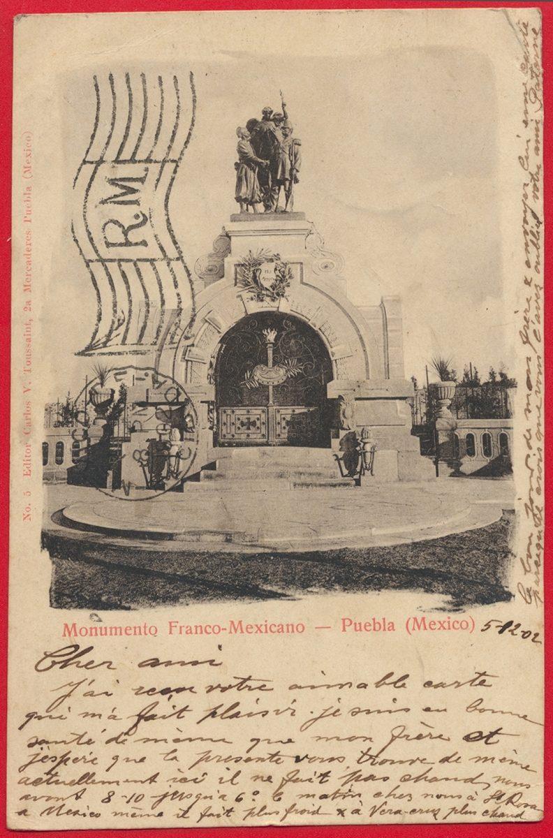 cpa-mexique-monumento-franco-mexicano-puebla-mexico
