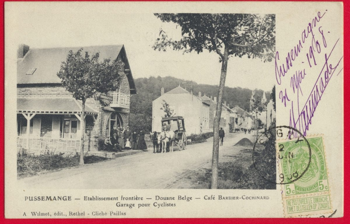 cpa-pussemange-douane-belge-cafe-barbier-cochinard-garage-cyclise