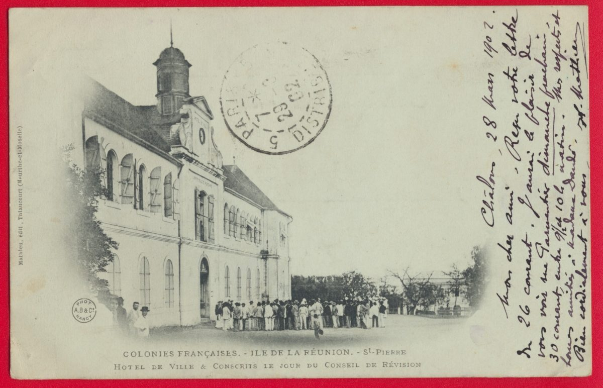 cpa-saint-pierre-ile-reunion-colonies-francaises-hotel-ville-conscrits-conseil-revision