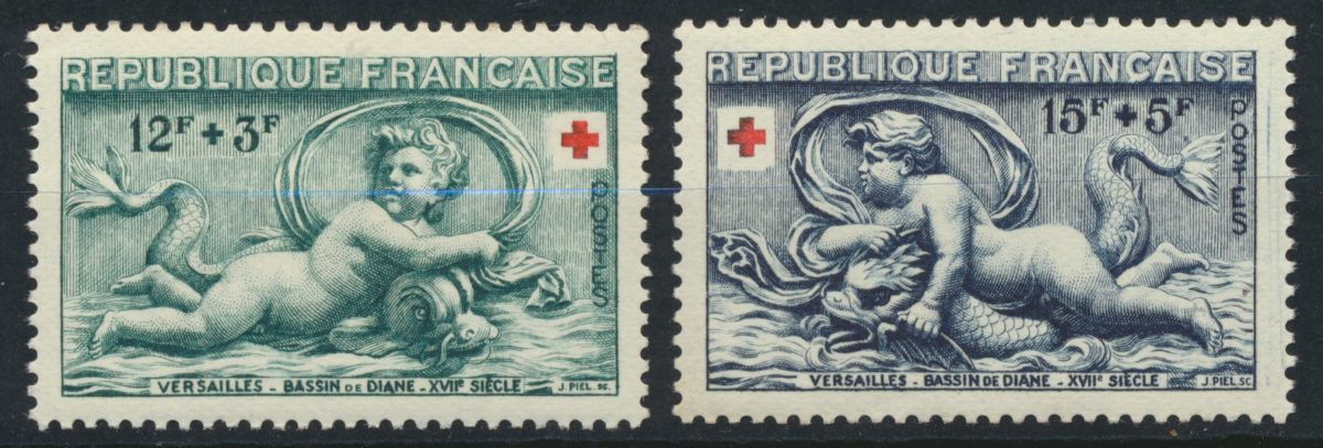 timbre-versailles-bassin-diane-croix-rouge-yvert-tellier-937-938
