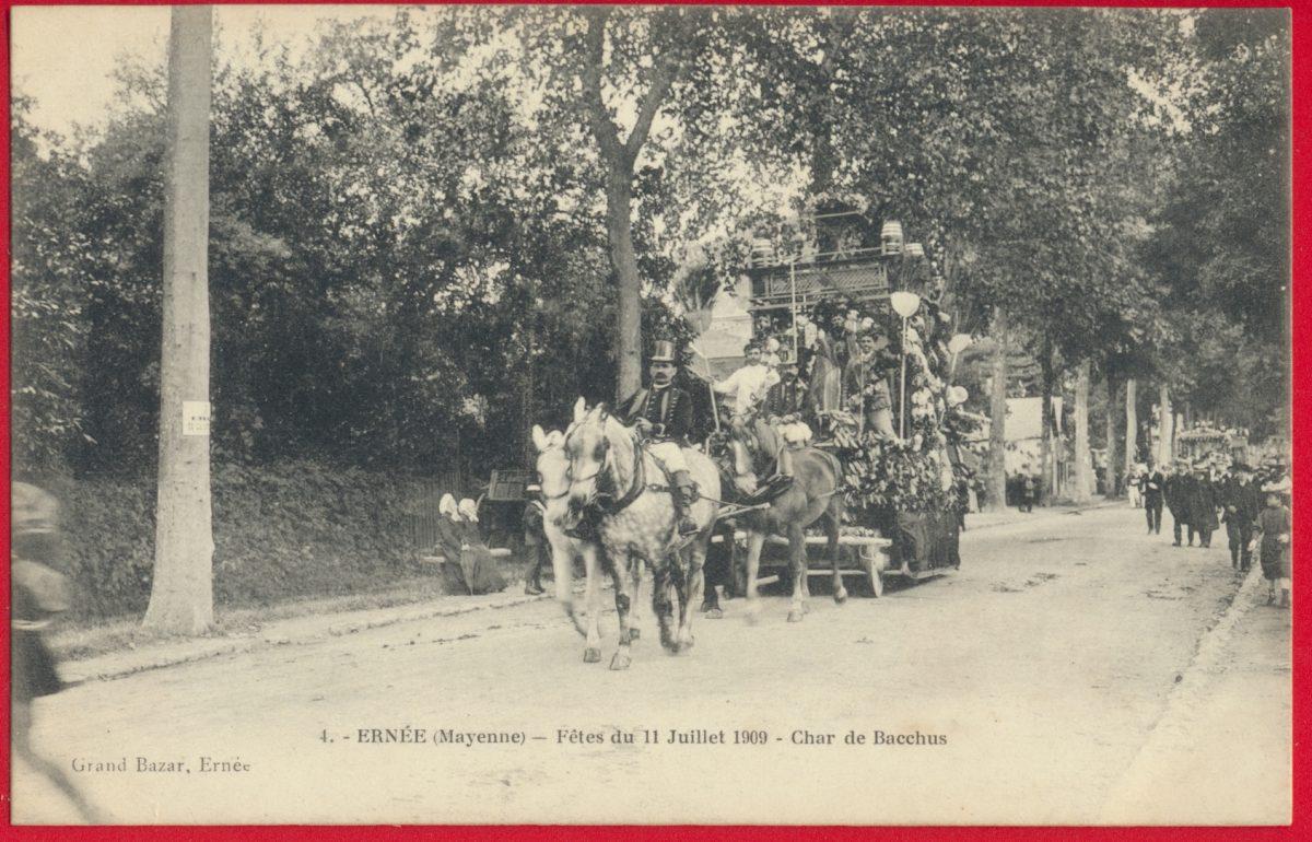 cpa-ernee-mayenne-fetes-11-juillet-1909-char-bacchus