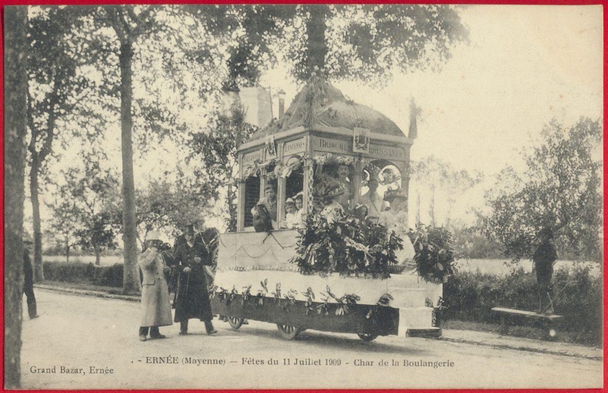 cpa-ernee-mayenne-fetes-11-juillet-1909-char-boulangerie