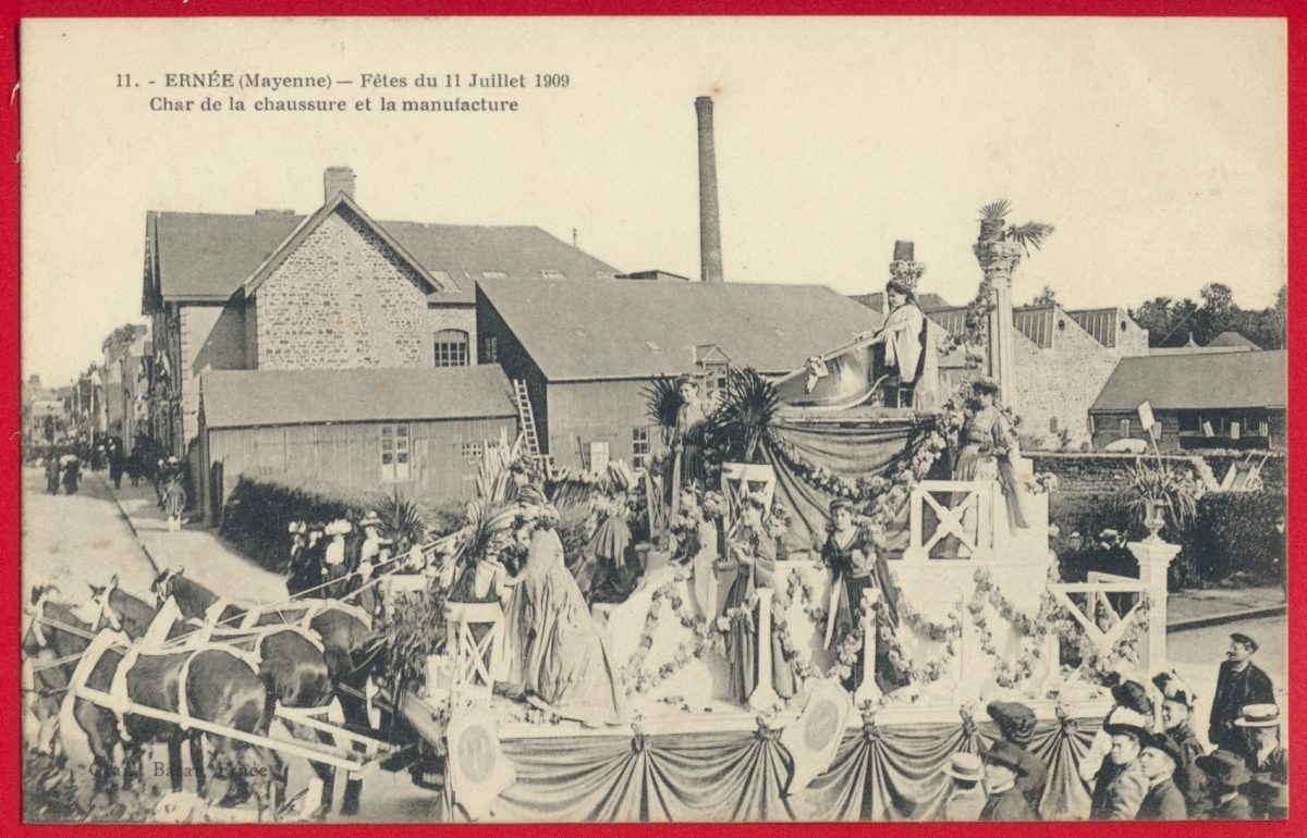 cpa-ernee-mayenne-fetes-11-juillet-1909-char-chaussure-manufacture