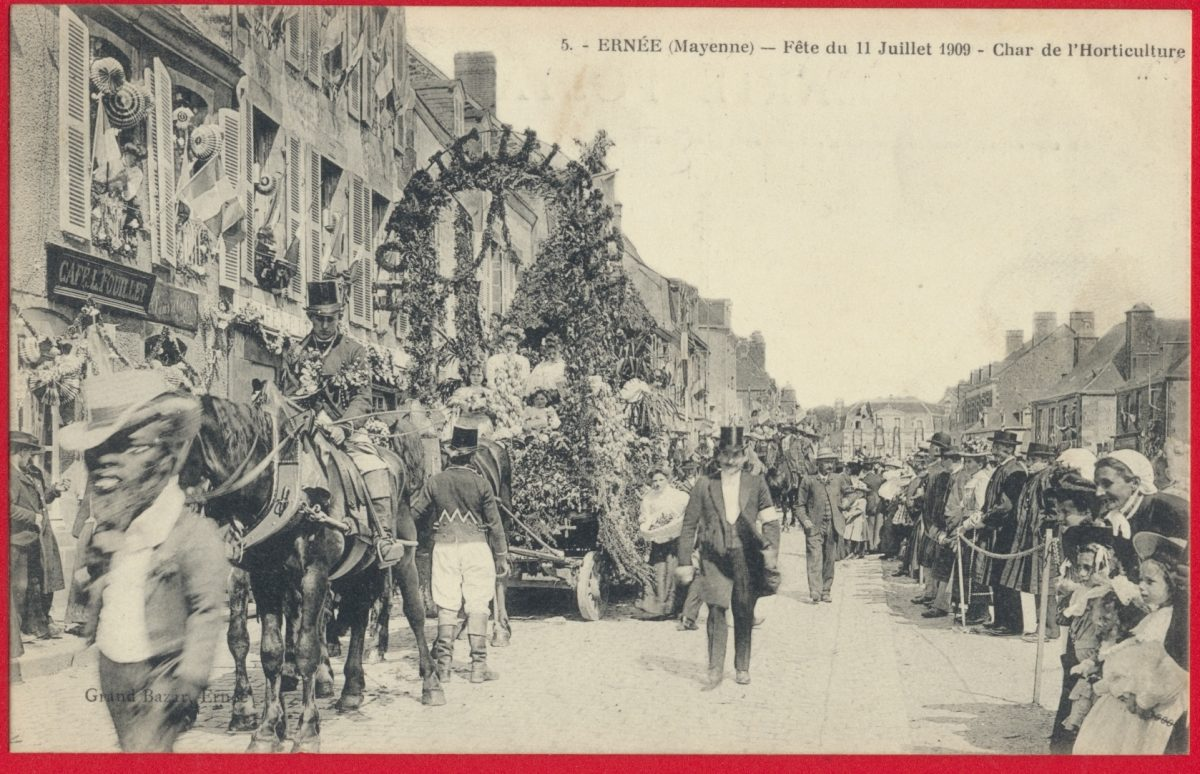 cpa-ernee-mayenne-fetes-11-juillet-1909-char-horticulture