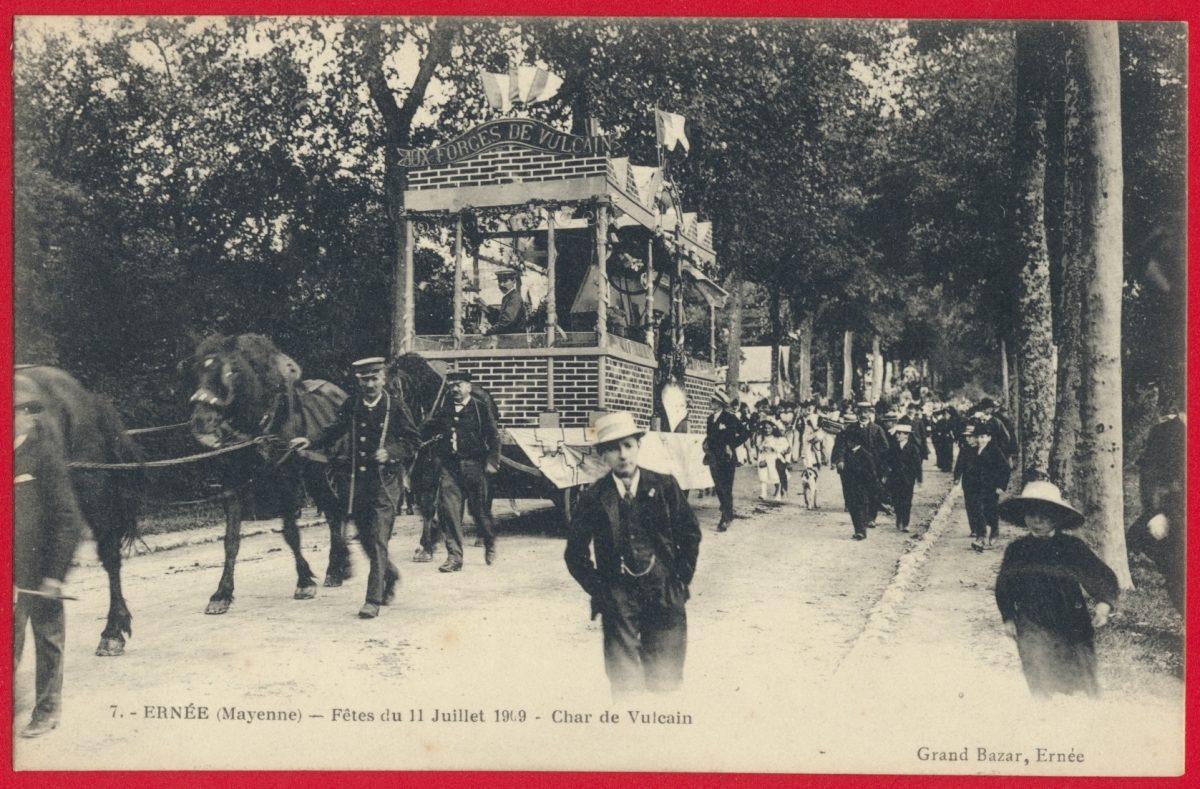 cpa-ernee-mayenne-fetes-11-juillet-1909-char-vulcain