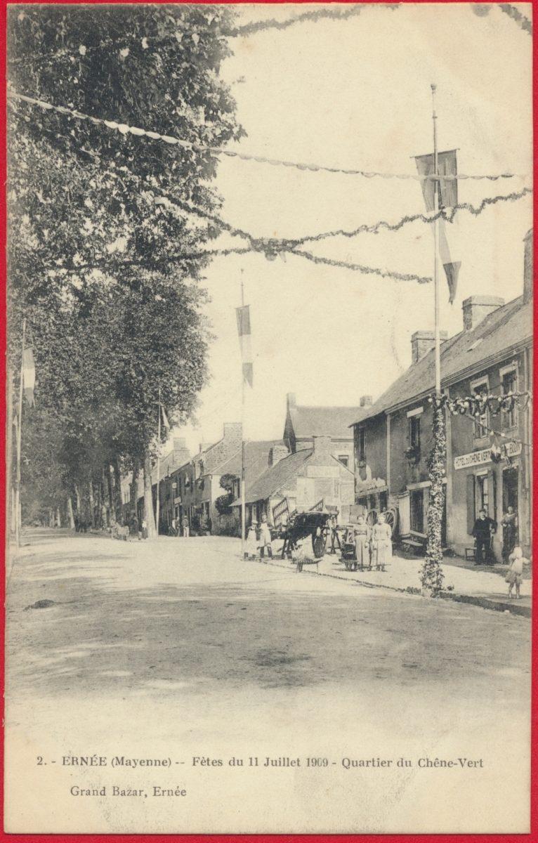 cpa-ernee-mayenne-fetes-11-juillet-1909-quartier-chene-vert