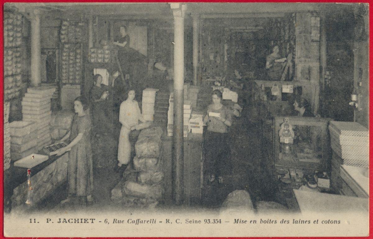 cpa-jachet-rue-caffarelli-mise-en-boites-laines-cotons