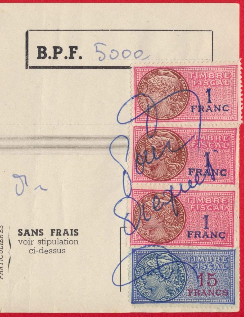 Timbres Fiscaux Sur Facture 1956 Fdcollector