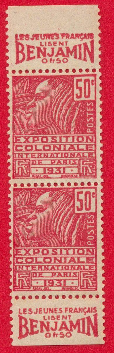 bande-publicitaire-50-centimes-exposition-coloniale-paris-1931-benjamin-jeune-francais-lisent