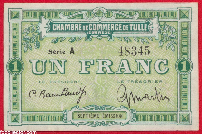 1 franc chambre de commerce de tulle fdcollector for Chambre de commerce essonne