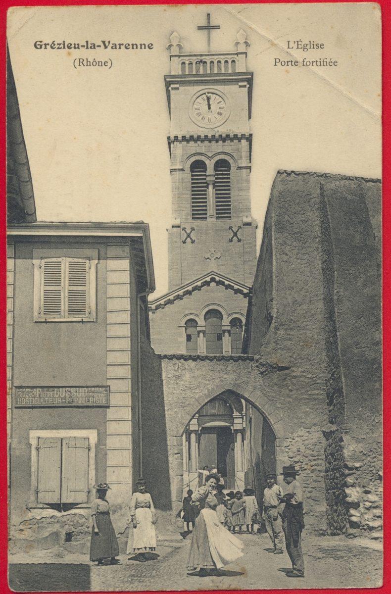 cpa-grezieu-varenne-rhone-porte-fortifiee-eglise