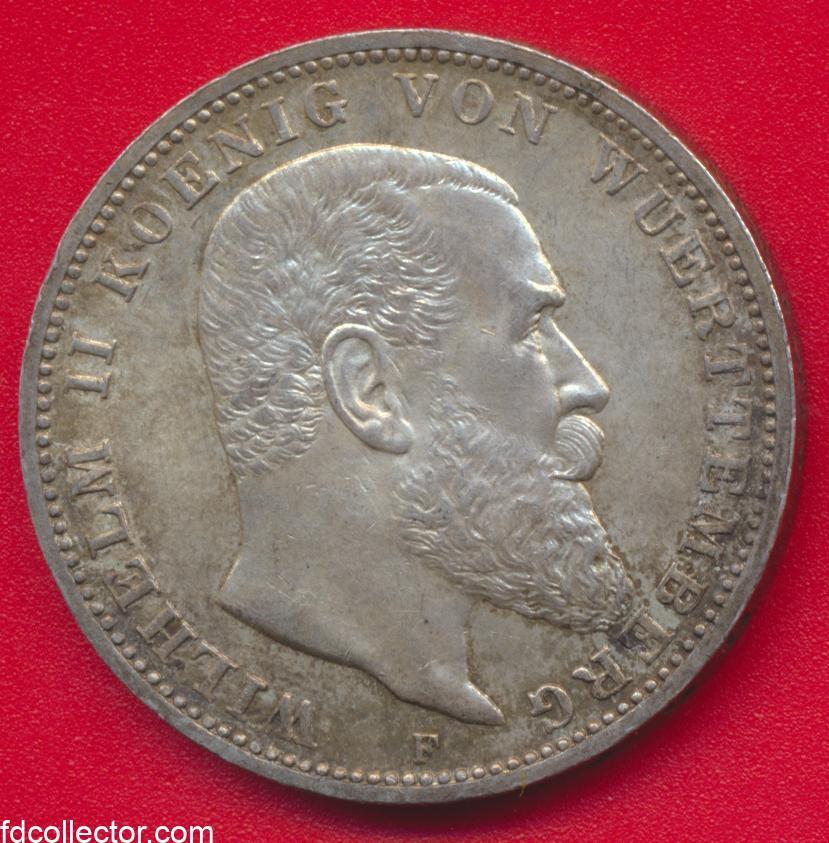 allemagne-wurtemberg-3-mark-guillaume-ii-wilhelm-1914-drei