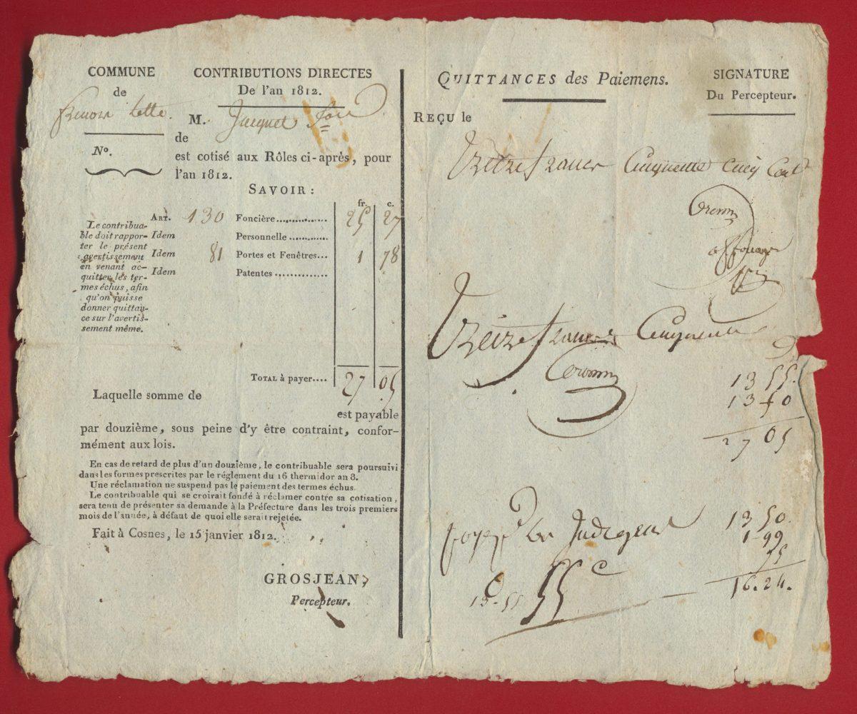contributions-directes-1812-quittances-paiemens-cosnes